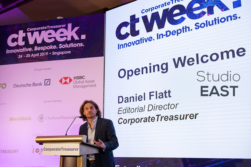 Opening Welcome from CorporateTreasurer by Daniel Flatt, Editorial Director, during CT Week in Swissôtel Merchant Court, Singapore, Singapore, on 24 April 2019. Photo by Lucas Schifres/Studio EAST