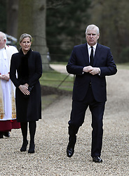 The Duke of York and the Countess of Wessex, attend the Sunday service at the Royal Chapel of All Saints at Royal Lodge, Windsor, following the announcement on Friday April 9, of the death of the Duke of Edinburgh at the age of 99. Picture date: Sunday April 11, 2021.