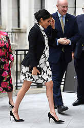 The Duchess of Sussex arriving to join a panel to celebrate International Women???s Day at King's College London.