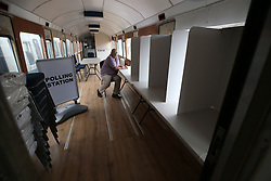June 7, 2017 - Leeming Bar, North Yorkshire, United Kingdom - Image ©Licensed to i-Images Picture Agency. 07/06/2017. Leeming Bar, United Kingdom. Railway Carriage Polling Station. ..A refurbished railway carriage parked at Leeming Bar Station on the Wensleydale Railway is to be used as a polling station tomorrow. Deputy chair of Leeming Bar Residents Association Richard Moore pictured inside. Picture by Chris Booth / i-Images (Credit Image: © Chris Booth/i-Images via ZUMA Press)