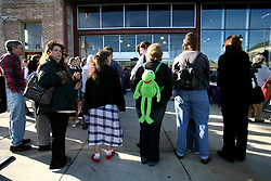 01 Feb 2006. Uptown, New Orleans, Louisiana.  Post Katrina. <br /> The Whole Foods supermarket reopens amidst great celebration 5 months after  the city was hit by Hurricane Katrina. Customers wait outside before the doors open.<br /> Photo; Charlie Varley/varleypix.com
