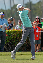 January 11, 2019 - Honolulu, HI, U.S. - HONOLULU, HI - JANUARY 11: Jordan Spieth tees off on the 1st hole during the second round of the Sony Open at the Waialae Country Club in Honolulu, HI. (Photo by Darryl Oumi/Icon Sportswire) (Credit Image: © Darryl Oumi/Icon SMI via ZUMA Press)