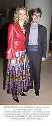 MR TIM & LADY HELEN TAYLOR at a party in London on 25th January 2002.<br />