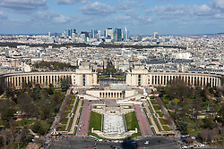 High angle view of Trocadero Gardens and cityscape against cloudy sky, Paris, France