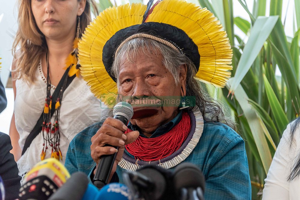August 26, 2019, Kolkata, West Bengal, India: Raoni Metuktire, Grand Chief of the Kayapo people living in the heart of the indigenous territory of Capoto-Jarina in Brazil, held a press conference on Monday, August 26, 2019 in Guethary after his meeting with President Emmanuel Macron on the sidelines of the Biarritz G7 summit where he discussed the fate of the Amazon, currently in flames for several weeks. (Credit Image: © Samuel Boivin/NurPhoto via ZUMA Press)