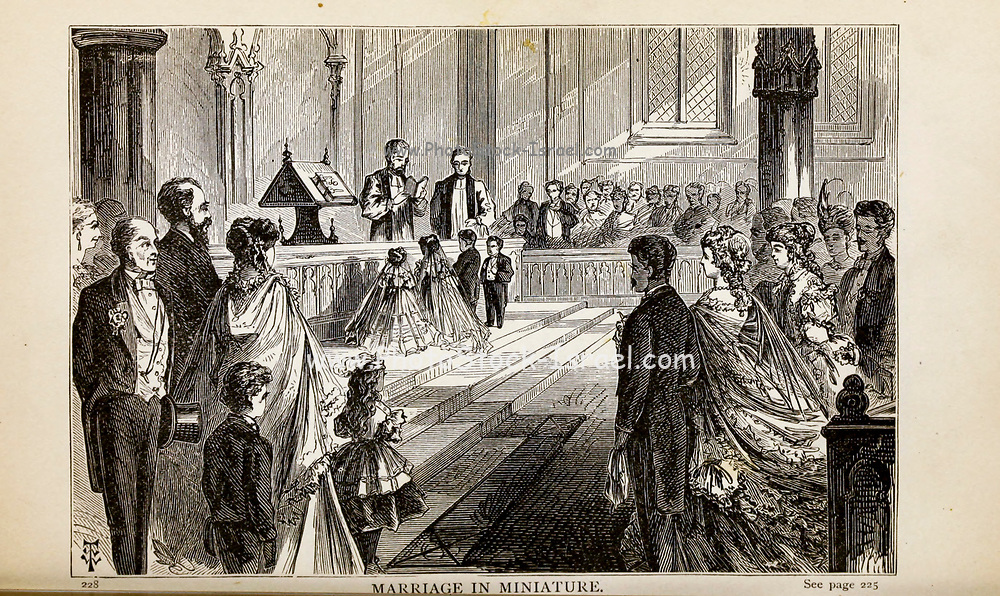 MARRIAGE IN MINIATURE, From the autobiographical Book ' Struggles and triumphs; or, Forty years' recollections of P.T. Barnum ' By Barnum, P. T. (Phineas Taylor), 1810-1891 Published by The Courier Company Buffalo, N.Y. in 1879. Phineas Taylor Barnum (July 5, 1810 – April 7, 1891) was an American showman, politician, and businessman, remembered for promoting celebrated hoaxes and for founding the Barnum & Bailey Circus (1871–2017). He was also an author, publisher, and philanthropist,