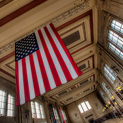 American flag hanging in interior of Union Station, Kansas City, Missouri