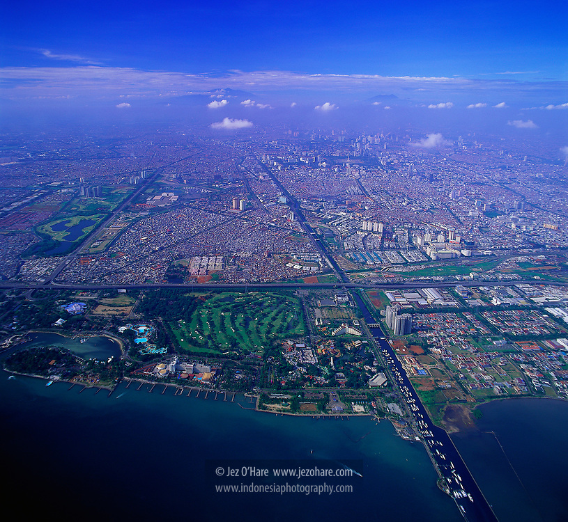 Jakarta seen from above Ancol, Java, Indonesia.