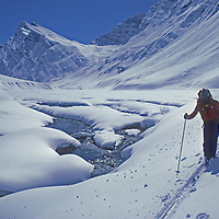 A Ski Mountaineers follows a stream in the Warwan Valley, en route from Ladakh to Kashmir during an expedition across India's Great Himalaya Range.