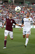 August 4, 2012: Colorado Rapids defender Drew Moor (3) and Real Salt Lake midfielder Jonny Steele (22) chase after the ball in the first half at Dick's Sporting Goods Park in Denver, Colorado