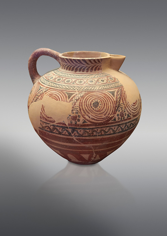 Spherical jug spiral and floral decorated. Early Cycladic I (1650-1550 BC); Phylakopi; Melos. National Archaeological Museum Athens. Cat No 5818.  Grey background.<br /> <br /> <br /> During this Cycladic period the pottery designs were heavily influenced by Cretean minoan with pottery. .<br /> <br /> If you prefer to buy from our ALAMY PHOTO LIBRARY  Collection visit : https://www.alamy.com/portfolio/paul-williams-funkystock/cycladic-art-artefacts.html Type into the LOWER SEARCH WITHIN GALLERY box to refine search by adding background colour, place, museum etc<br /> <br /> Visit our CYCLADIC CIVILISATIONS PHOTO COLLECTIONS for more photos to download or buy as wall art prints https://funkystock.photoshelter.com/gallery-collection/Cycladic-civilisation-Ancient-Greek-Artefacts-art-Photos-Pictures-Images/C0000CmevVvnC.XU