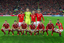 October 9, 2017 - Cardiff City, Walles, United Kingdom - The Wales pre match team photo (back row l-r) Ashley Williams, Wayne Hennessey, James Chester, Hal Robson-Kanu (front row l-r)  Chris Gunter, Ben Davies, Andy King, Joe Allen, Tom Lawrence, Aaron Ramsey and Joe Ledley ahead of the FIFA World Cup group qualifier match between Wales and Republic of Ireland at the Cardiff City Stadium, Cardiff, Wales on 9 October 2017. (Credit Image: © Kieran Galvin/NurPhoto via ZUMA Press)