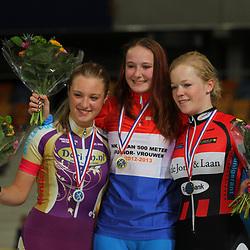 podium 500m junior vrouwen 1e Hayleigh Dolman, 2e Nicky Zijlaard, 3e Kyra Lamberink
