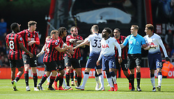 AFC Bournemouth and Tottenham Hotspur players exchange words during the Premier League match at the Vitality Stadium, Bournemouth.
