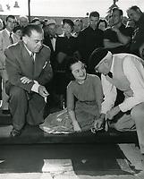 1952 Olivia de Havilland's hand/footprint ceremony at the Chinese Theater