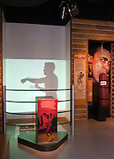 The Train with Ali exhibit allows visitors an opportunity to shadowbox, punch a speed bag and lean into a heavy bag that lets them feel the power of an Ali punch, Thursday, Jan. 11, 2012 at the Muhammad Ali Center in Louisville, Ky. (AP Photo/Brian Bohannon).