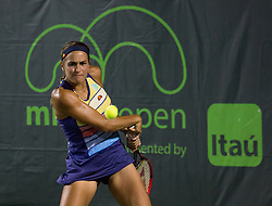 March 26, 2018 - Miami, Florida, United States - Monica Puig, from Puerto Rico, hitting a backhand during her match against Danielle Collins, from the USA at the Miami Open in Key Biscayne, on March 26, 2018. (Credit Image: © Manuel Mazzanti/NurPhoto via ZUMA Press)