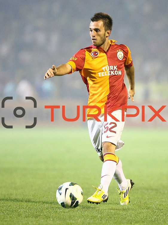 Galatasaray's player Emre Colak with the ball on Turkish Super Cup 2012 soccer derby match Galatasaray between Fenerbahce at the Kazim Karabekir stadium in Erzurum Turkey on Sunday, 12 August 2012. Photo by TURKPIX