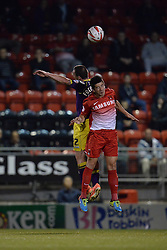 Notts County's Mark Fotheringham and Leyton Orient's Lloyd James compete for the ball  - Photo mandatory by-line: Mitchell Gunn/JMP - Tel: Mobile: 07966 386802 17/09/2013 - SPORT - FOOTBALL -  Matchroom Stadium - London - Leyton Orient v Notts County - Sky Bet League One