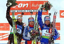 Eva Tofalvi (2nd place), Albina Akhatova (1st place) and Svetlana Sleptsova (3rd place) at Women 15 km Individual at E.ON Ruhrgas IBU World Cup Biathlon in Hochfilzen (replacement Pokljuka), on December 18, 2008, in Hochfilzen, Austria. (Photo by Vid Ponikvar / Sportida)