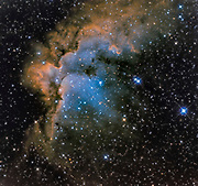 The Wizard nebula (NGC 7380) in constellation Cepheus,  photographed through Ha-OIII-SII filters.
