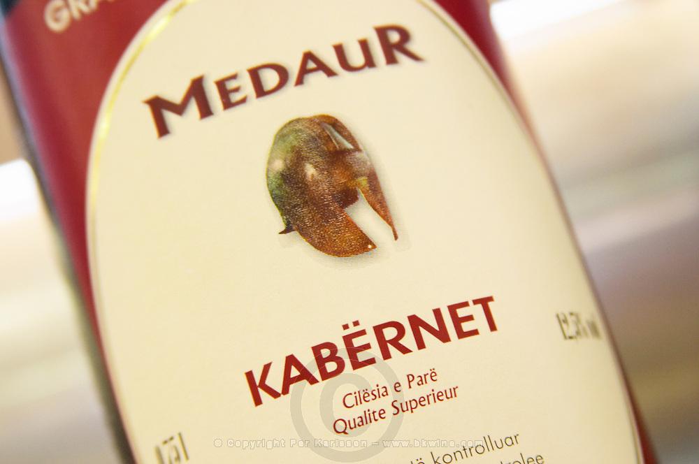 Bottle, detail of label, Medaur Cuvee de l'Amitiee Grand Vin d'Albanie Cabernet Sauvignon (Kabernet) Vere e Kuqe Kantina Miqesia Koplik Kantina Miqesia or Medaur winery, Koplik. Albania, Balkan, Europe.
