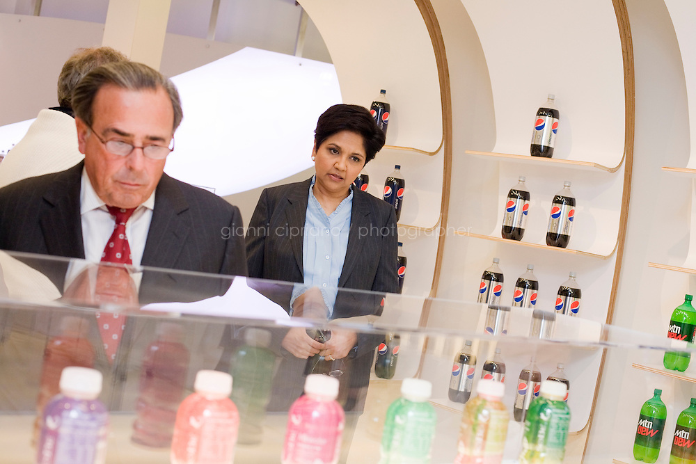 3 October, 2008. Hawthorne, NY. CEO of PepsiCo Indra Nooyi with past CEOs Don Kendall (co-founder of PepsiCo) and Roger A. Enrico, and with Massimo D'Amore, CEO of PepsiCo Americas Beverages.<br /> <br />  ©2008 Gianni Cipriano<br /> cell. +1 646 465 2168 (USA)<br /> cell. +1 328 567 7923 (Italy)<br /> gianni@giannicipriano.com<br /> www.giannicipriano.com