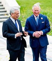 Dr Farhan Nizami, His Royal Highness The Prince of Wales at The Oxford Centre for Islamic Studies Marton Road Oxford planting a tree at the  fopening ceremony 16thmay 2017
