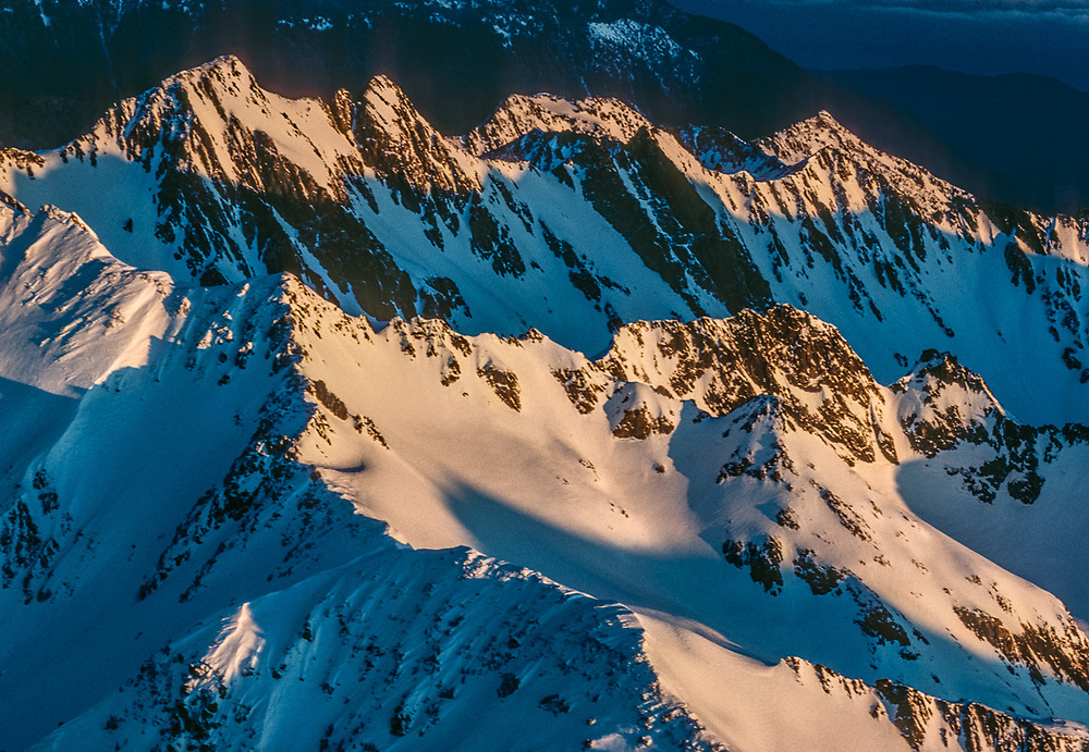 Aerial view, Mount Anderson, morning light, December, Olympic National Park, Washington, USA