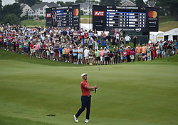 June 24, 2018 - Cromwell, CT, USA - Bryson DeChambeau hits his second shot on the 18th hole during the final round of the Travelers Championship at TPC River Highlands in Cromwell, Conn., on Sunday, June 24, 2018. (Credit Image: © Brad Horrigan/TNS via ZUMA Wire)