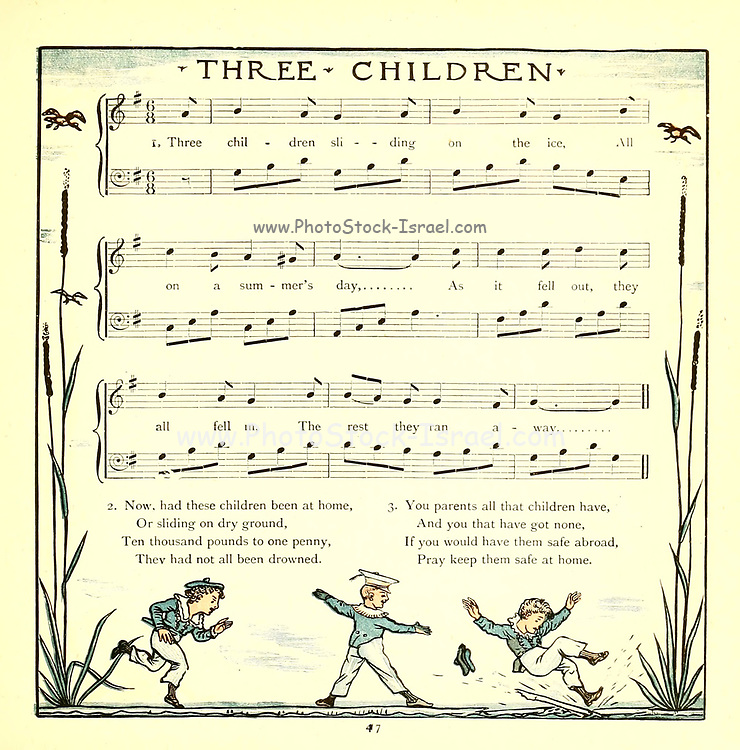 Three CHildren sliding on the ice From the Book '  The baby's opera : a book of old rhymes, with new dresses by Walter Crane, and Edmund Evans Publishes in London and New York by F. Warne and co. in 1900