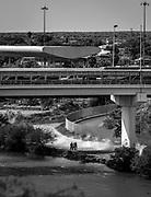 Foot and car bridge. Starr County International Bridge, Roma,  Texas, USA