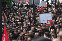 December 6, 2016 - Tunis, Tunisia - Tunisian lawyers hold placards and national flags during a demonstration against a draft 2017 budget that would impose a public sector pay freeze on December 6, 2016 outside Tunis law court. (Credit Image: © Ileyes Gaidi/NurPhoto via ZUMA Press)