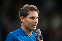 Rafael Nadal of Spain in action in the men's single first round match against Pablo Cuevas of Uruguay during day four of the Rolex Paris Masters at the Accor Hotels Arena on November 2, 2017 in Paris, France. Photo by Yann Bohac/ANDBZ/ABACAPRESS.COM