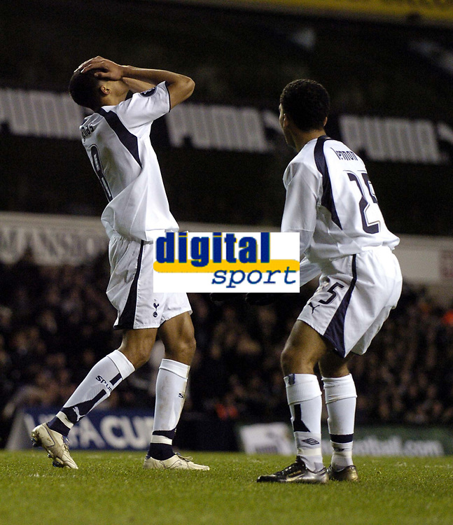 Photo: Olly Greenwood.<br />Tottenham Hotspur v Club Brugge. UEFA Cup. 02/11/2006. Spurs Jermaine Jenas cant's belive he's missed with Aaron Lennon