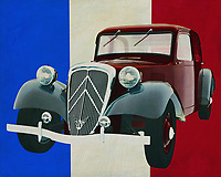 The Citroen Traction was ahead of its time in 1938 with the groundbreaking technology of front-wheel drive. The Citroen Traction with doors opening backwards was a very popular model where Citroen conquered the market. Citroen Traction's were widely used by families but also as a cab or police car; the Citroen Traction is still considered one of the most iconic French cars.<br /> <br /> <br /> This painting of the Citroen Traction, built in 1938, with the French flag in the background, can be purchased in various sizes and printed on canvas as well as wood and metal. You can also have the painting finished with an acrylic plate over it which gives it more depth. -<br /> -<br /> BUY THIS PRINT AT<br /> <br /> FINE ART AMERICA<br /> ENGLISH<br /> https://janke.pixels.com/featured/citroen-traction-from-1938-in-front-of-the-french-flag-jan-keteleer.html<br /> <br /> <br /> WADM / OH MY PRINTS<br /> DUTCH / FRENCH / GERMAN<br /> https://www.werkaandemuur.nl/nl/shopwerk/Citroen-Tractie-Avant-uit-1938-voor-de-Franse-Vlag/664547/132?mediumId=1