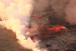 Handout photo of lava entering the ocean along the northern margin of the flow field at the Kapoho coast, Kilauea Volcano, HI, USA, June 30, 2018. Photo by USGS via ABACAPRESS.COM