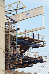 Cast-in-place Hollow Box Girder Operations, New Pearl Harbor Memorial Bridge under Construction at New Haven Harbor Crossing, Connectictut. CONNDOT Contract B, Project #92-618. When complete the alternately named Quinnipiac River Bridge will be first Extradosed Engineered & Designed Bridge in the United States.