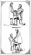 Hypnosis: Placing patient under the influence of hypnotism, top, and releasing him from that influence, bottom.  From William Davey 'The Illustrated Practical Mesmerist', London, 1889.  Lithograph.