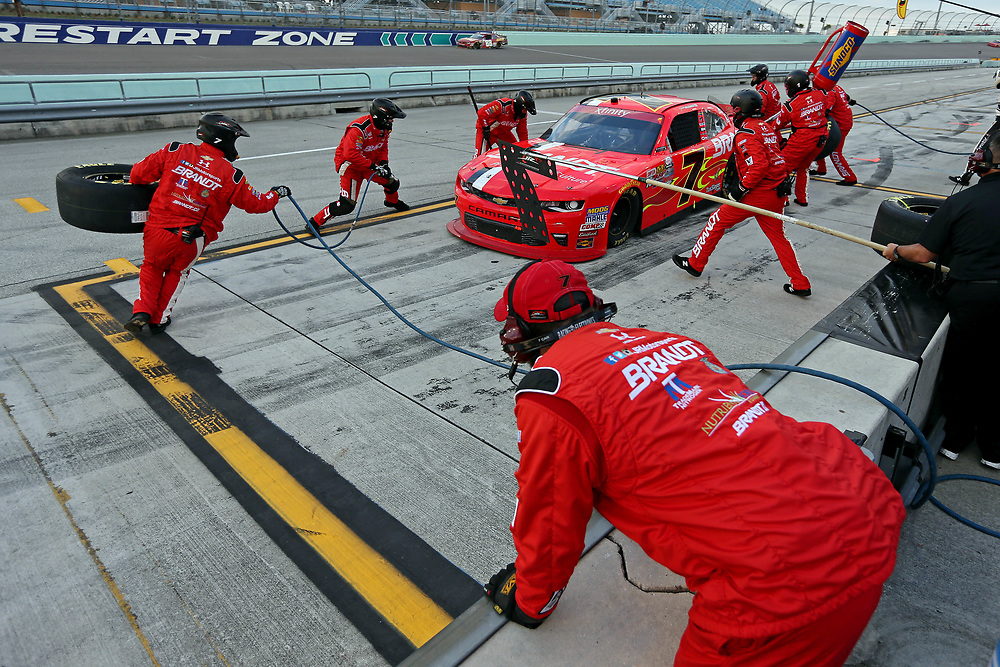 Nov 19, 2016; Homestead, FL, USA; NASCAR Xfinity Series driver Justin Allgaier (7) makes a pit stop during the Ford Ecoboost 300 at Homestead-Miami Speedway. Mandatory Credit: Peter Casey-USA TODAY Sports