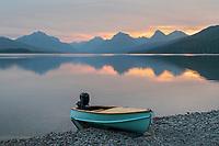 Boat on beach at Lake McDonald, Glacier National Park Montana