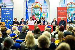 © Licensed to London News Pictures. 26/01/2019. Manchester, UK. A cross party group of politicians and leaders , including Labour's KATE GREEN MP , LOUISE ELLMAN MP , Lib Dem Mcr Cllr RICHARD KILPATRICK , Former Green Party Leader NATALIE BENNETT and SAJJAD KARIM Conservative NW MEP, at a rally at the Mechanics Institute after a demonstration by hundreds of supporters of a People's Vote on Britain's membership of the EU is held in St Peters Square . Photo credit: Joel Goodman/LNP