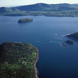 Acadia N.P., ME. Porcupine Islands. Frenchman Bay. Aerial.