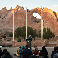 The First Lady of the United States Dr. Jill Biden delivers a live radio address to the Navajo Nation from the Window Rock Navajo Tribal Park & Veterans Memorial in Window Rock Thursday evening.