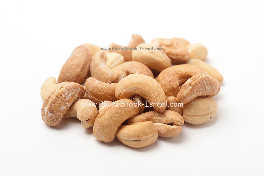 Roasted Cashew Nuts On white Background