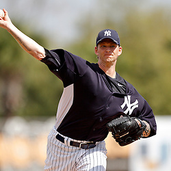 March 2, 2011; Tampa, FL, USA; New York Yankees starting pitcher A.J. Burnett (34) during a spring training exhibition game against the Houston Astros at George M. Steinbrenner Field.  Mandatory Credit: Derick E. Hingle