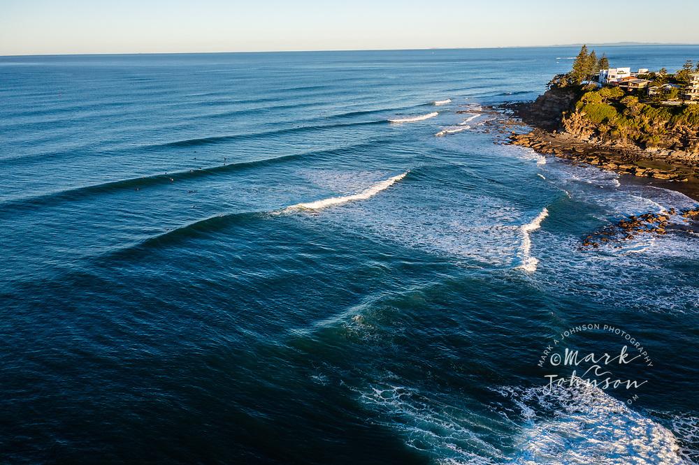 Aerial view of surfers, surfing at Moffat Headland, Moffat Beach, Sunshine Coast, Queensland, Australia