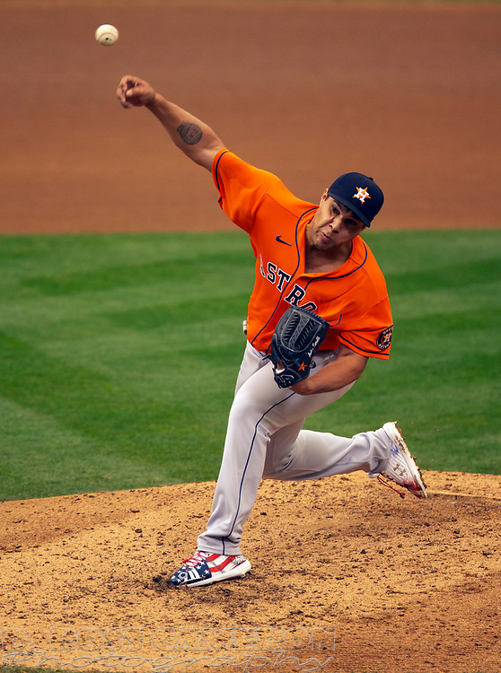 Sep 10, 2020; Oakland, California, USA; Houston Astros pitcher Andre Scrubb (70) delivers a pitch against the Oakland Athletics during the seventh inning of a baseball game at Oakland Coliseum. Mandatory Credit: D. Ross Cameron-USA TODAY Sports