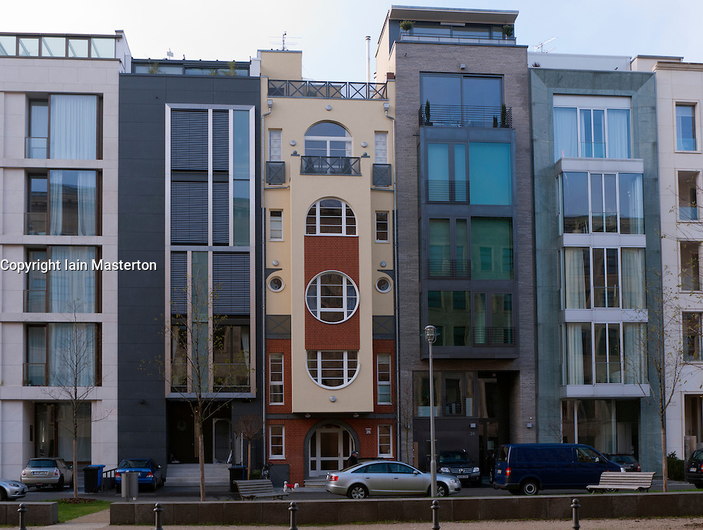 Modern new expensive apartment buildings in Mitte Berlin Germany