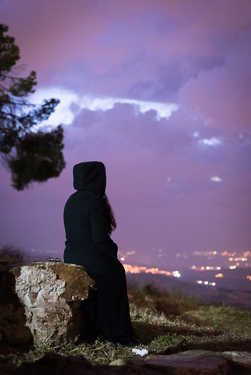 20 April 2019, Jerusalem: A lone pilgrim awaits the sunrise at Jabal Allah on the Mount of Olives. Easter Sunday sees a sunrise service at Jabal Allah (God's Mountain) on the Mount of Olives in Jerusalem, held by the Lutheran Church of the Redeemer (English-speaking congregation).